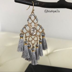 Anna & Ava Gold & Grey Tassel Statement Earrings